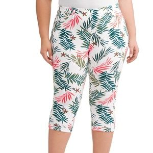 Palm Tree Tropical Jeggings Capris Size 4X NWT